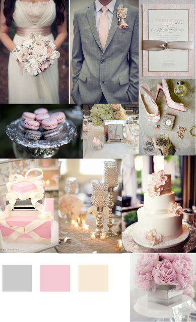 Pink Silver Gray Grey Wedding Inspiration Gold Cream