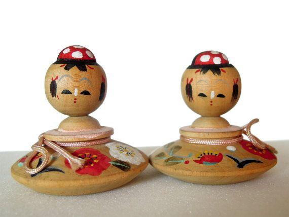Japanese Kokeshi Doll Pair Handmade by JapaneseKokeshiDolls, $32.00