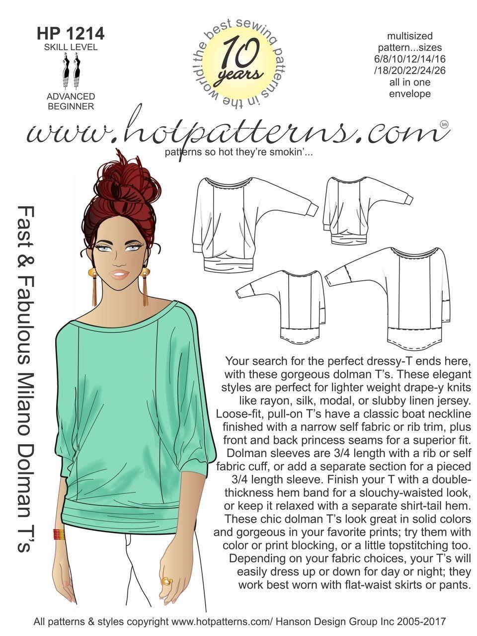 Hot Patterns 1214 - Milano Dolman T's