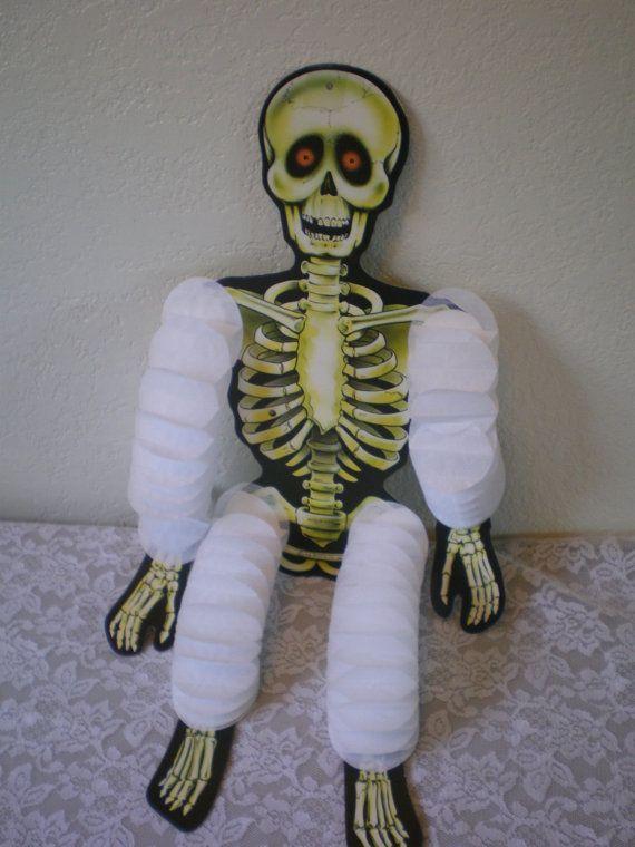 Vintage Beistle Cardboard And Crepe Paper Skeleton