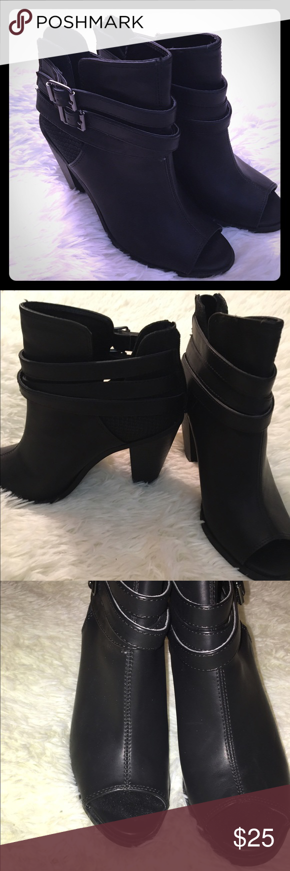 🎉Flash Sale 🎉black Peep Toe Booties Super cute black leather peep toe booties, chunky heel makes these comfortable yet still trendy!!! Buckle detailing on the sides; they zip up in the back, only worn once, still in great condition!!! Simply Vera Vera Wang Shoes Ankle Boots & Booties