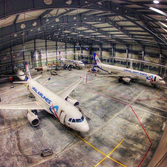 Under the lights at Ural Airlines Technics hangar