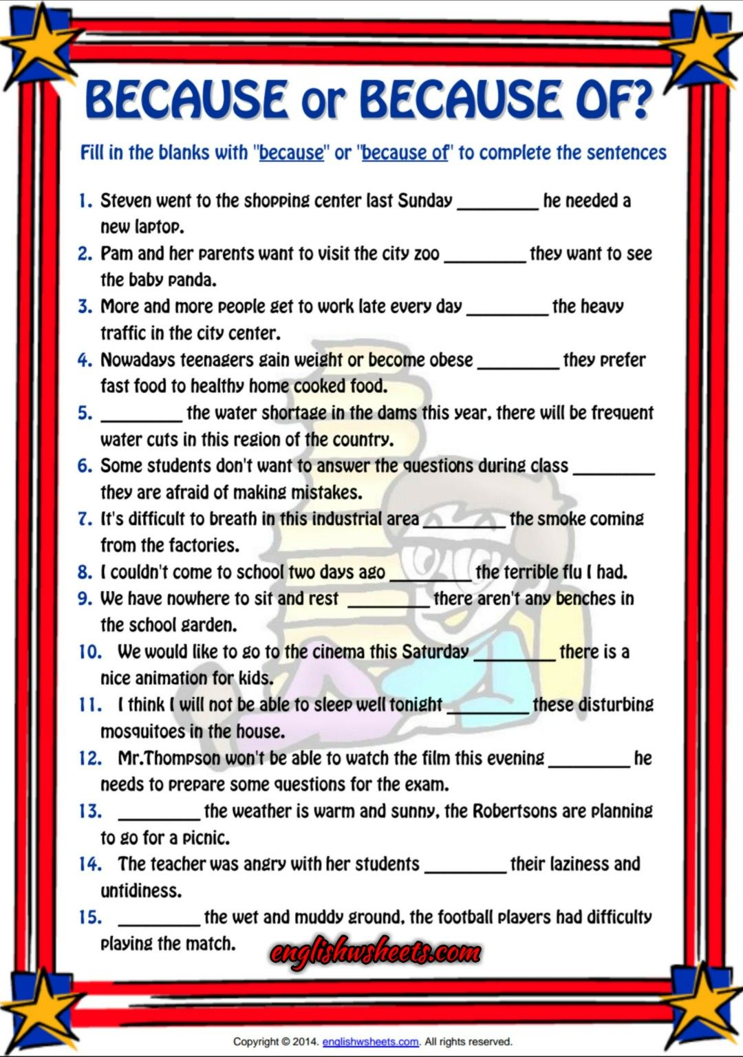 Because Or Because Of Esl Grammar Exercise Worksheet