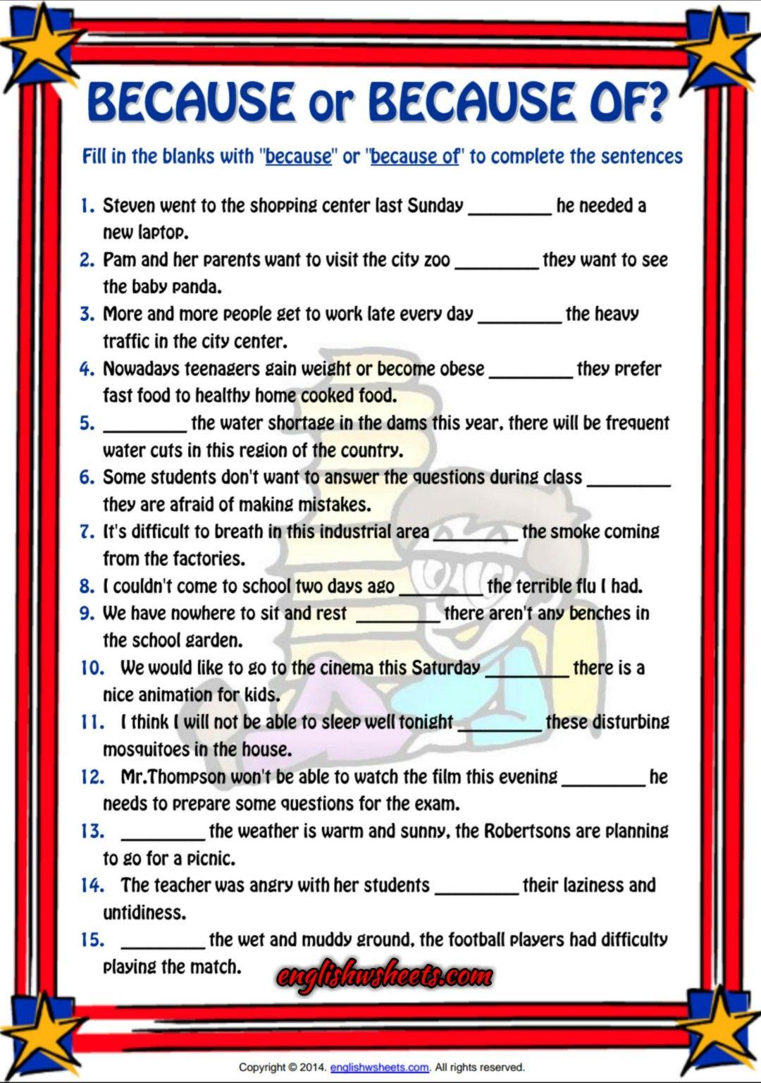 Workbooks shopping worksheets esl : Because or Because of ESL Grammar Exercise Worksheet | Esl ...
