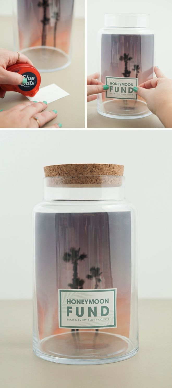 Make Your Own Fund Jar With 4 Different Free Labels Honeymoon Fund Vacation Fund Jar Diy Honeymoon