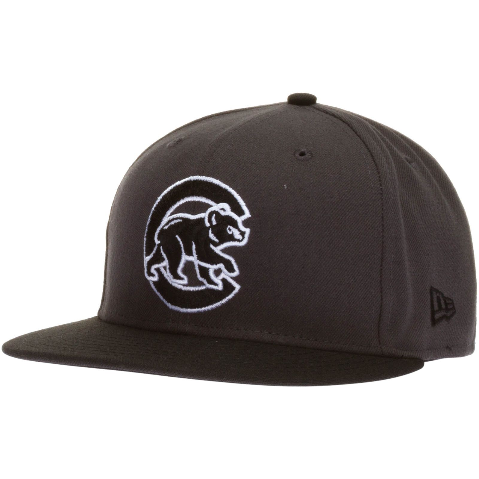 Chicago Cubs Grey and Black Crawl Bear Flat Bill Fitted Hat by New Era   Chicago  Cubs  ChicagoCubs 28a2776d57a