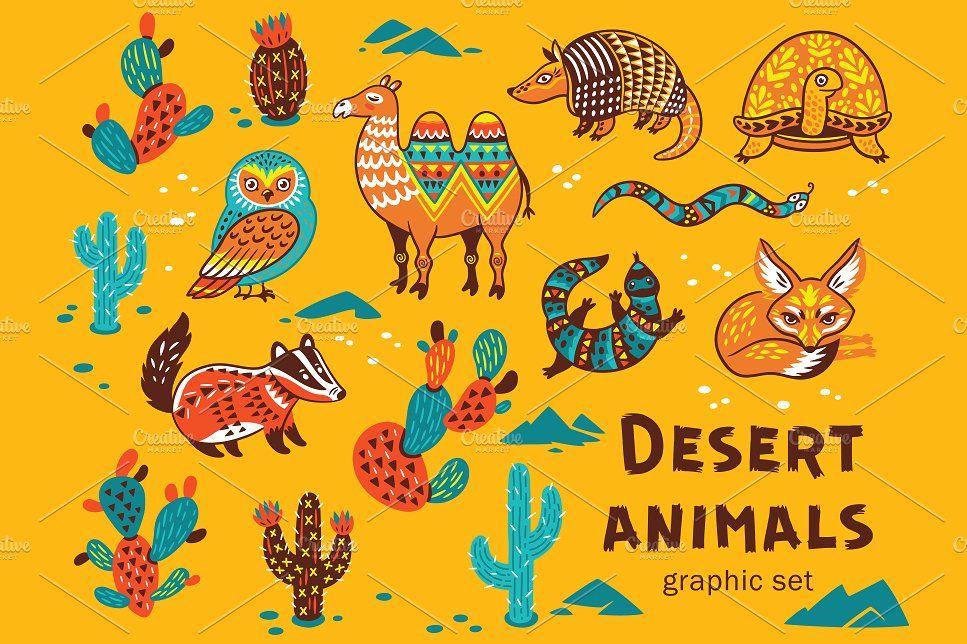Desert Animals Desert Animals Camels Illustration Vector Background Pattern