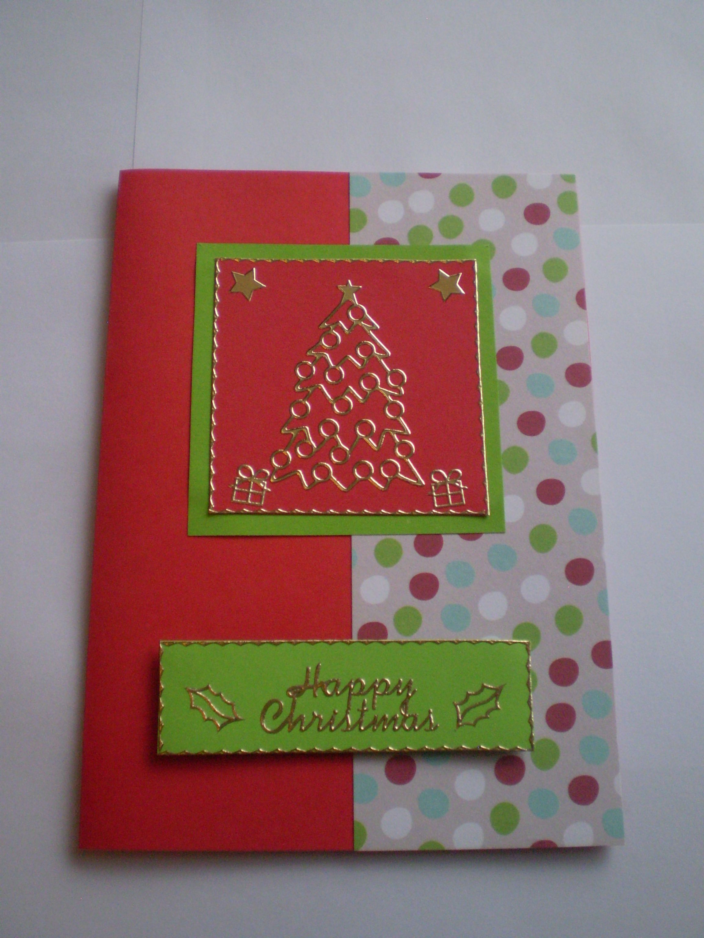 Christmas Card Crafts Ideas Part - 22: Raised Christmas Tree With Polka Dot And Red Background Pattern - Christmas  Card Craft Ideas Homemade