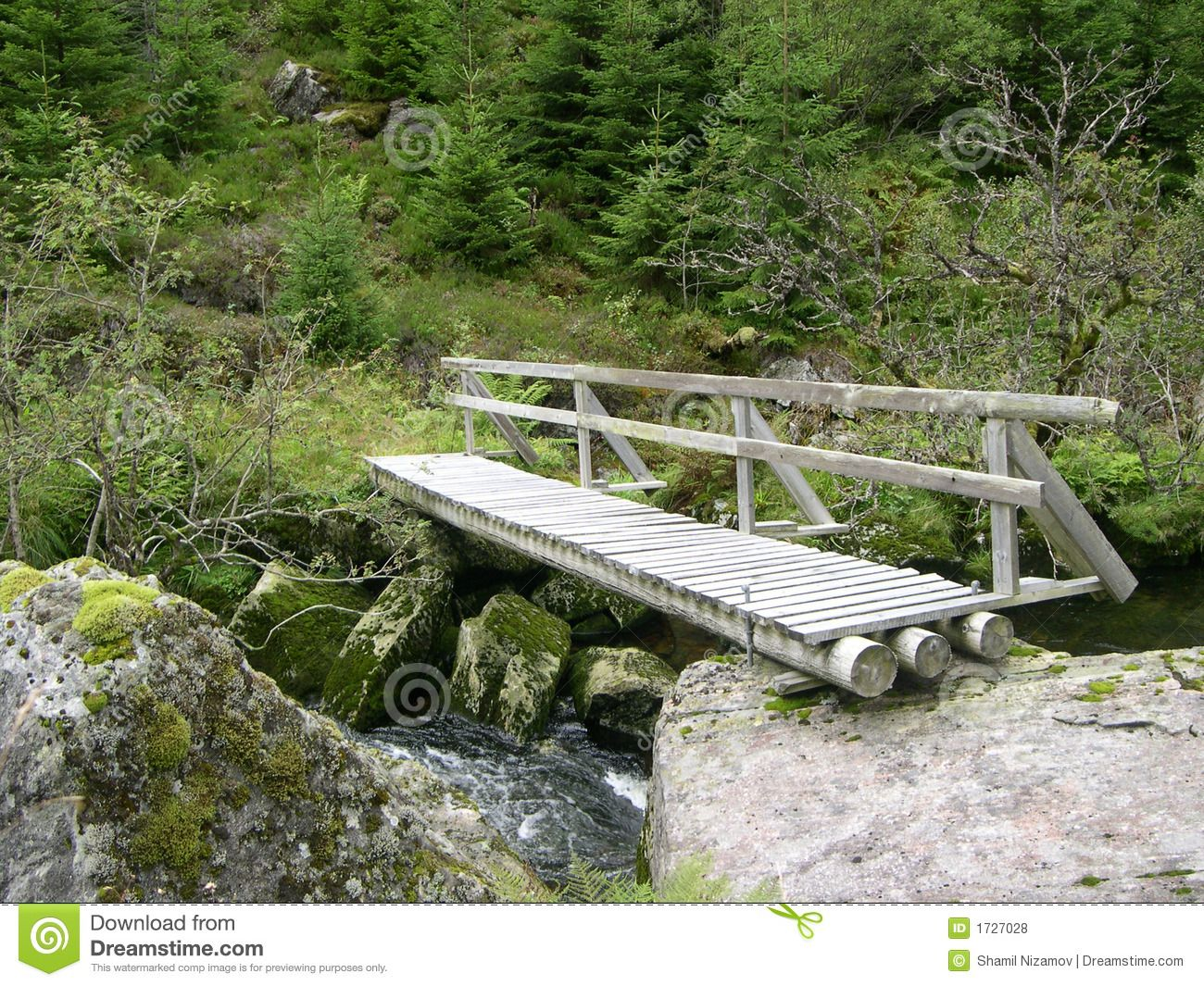 Shot Wooden Bridge Over Creek In Norway From