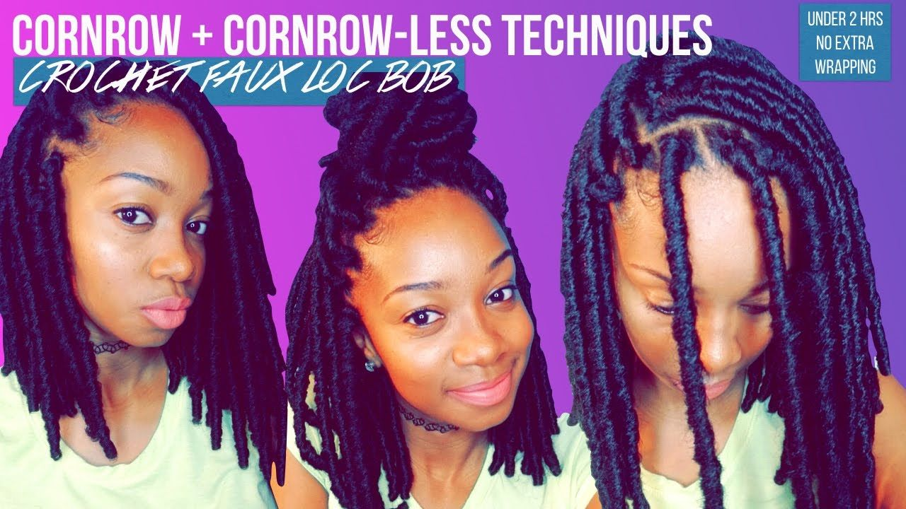 EASY|CORNROW-LESS+REGULAR CROCHET FAUX LOC BOB | Pretty hairstyles, Cornrows, Faux locs