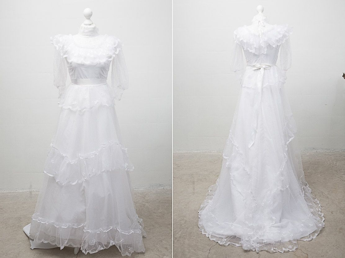1980's White Wedding Dress With Sheer High Neck And