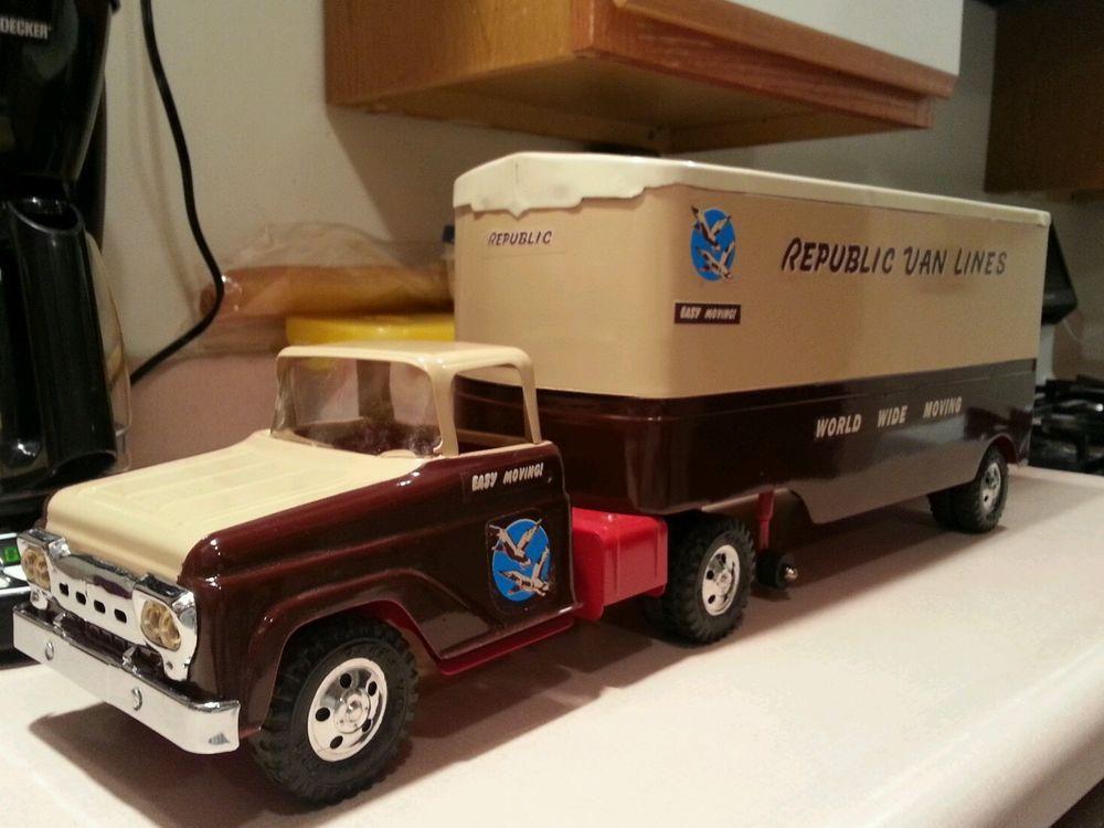 Vintage Toy Trucks Part - 40: Antique Toys · Tonka Truck Republic Van Lines Restored #Tonka
