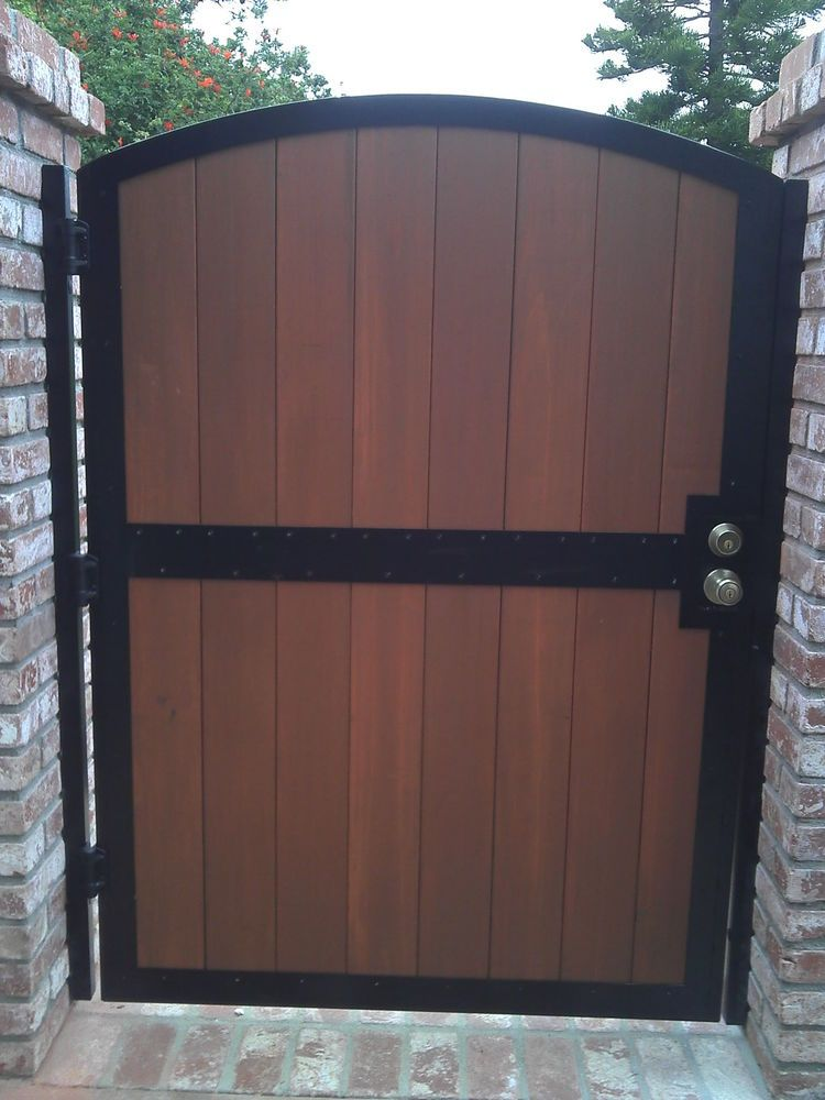 Redwood Patio Furniture Home Depot: Redwood Metal Security Gate Wrought Iron Wood Entry Garden
