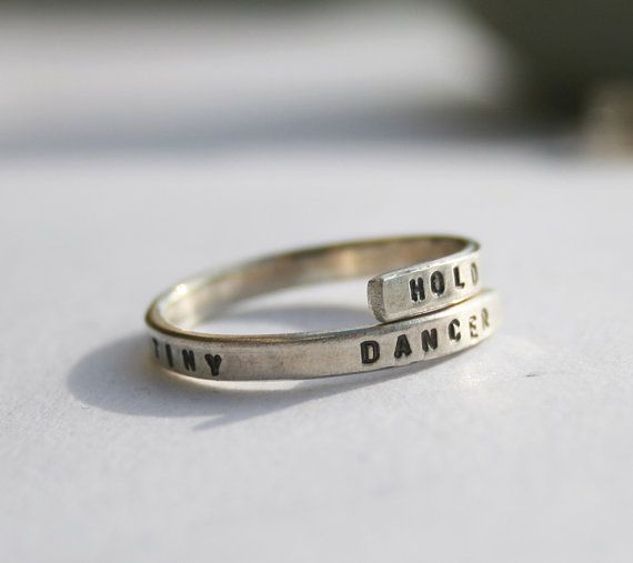 Elton John Lyric ring Hold me closer tiny dancer Sterling Silver