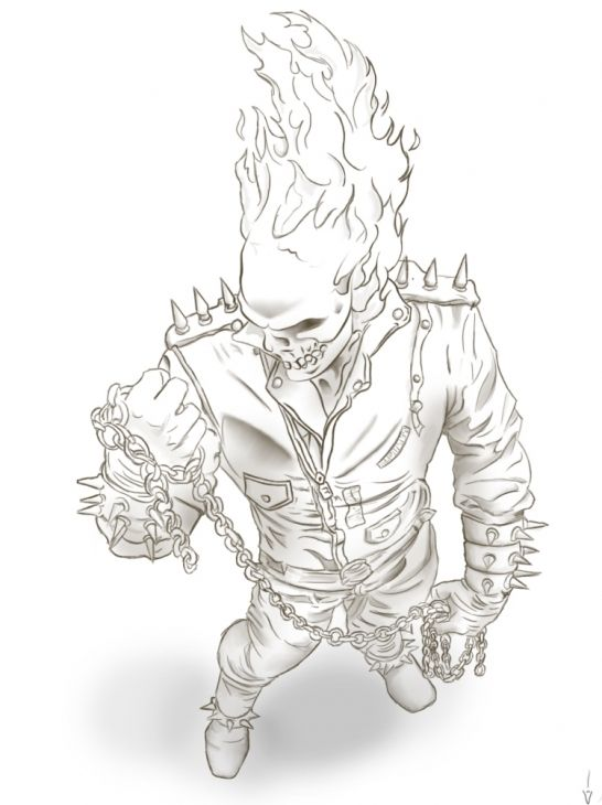 Online Ghost Rider Printable Coloring Page  Superheroes Coloring