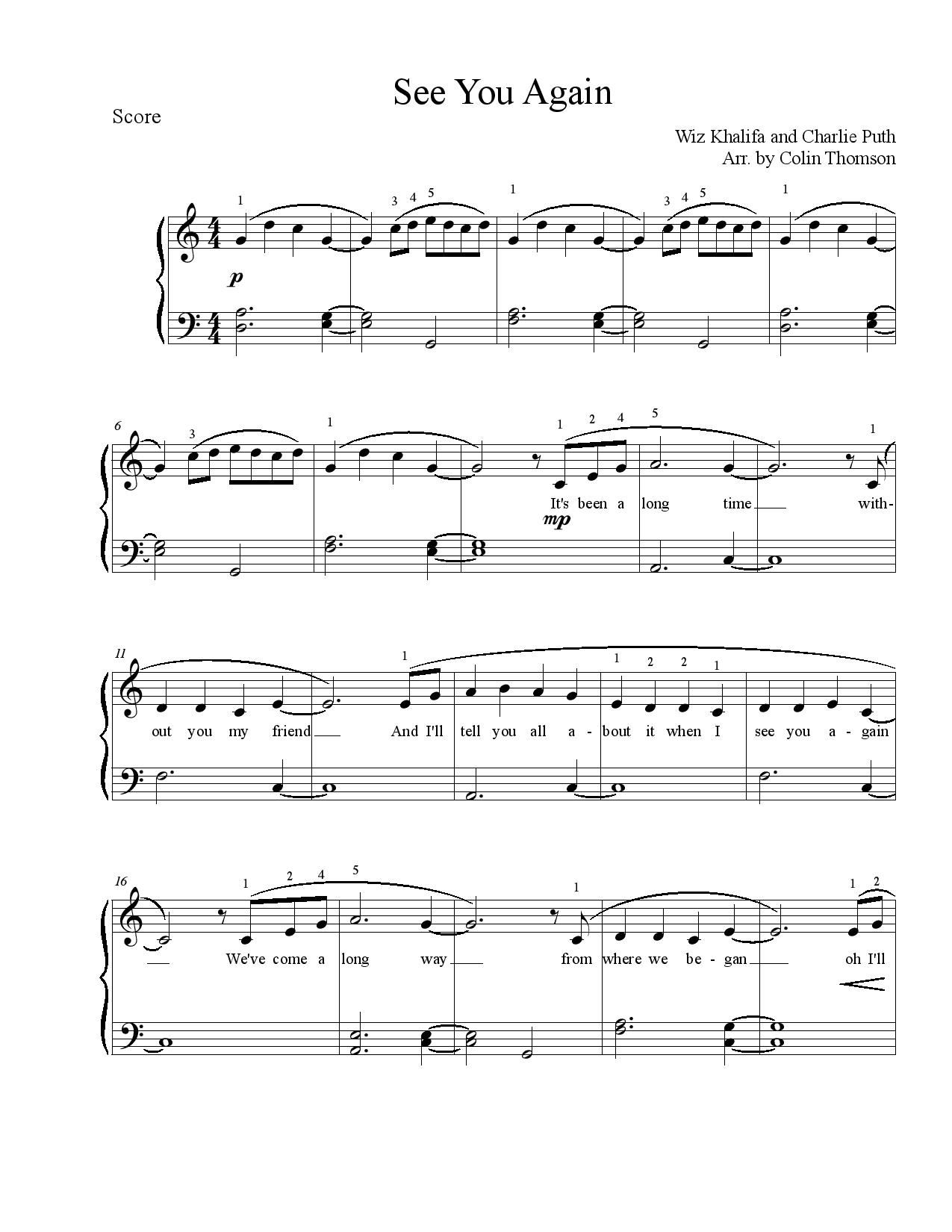 See You Again by Wiz Khalifa-page-001 : Free Sheet Music : Pinterest : Wiz khalifa, Sheet music ...