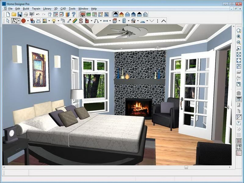 Cherry Coloring Your Bedroom With Virtual Room Painter Finished With Blue Wall Painting Best Home Design Software Interior Design Software Home Design Software