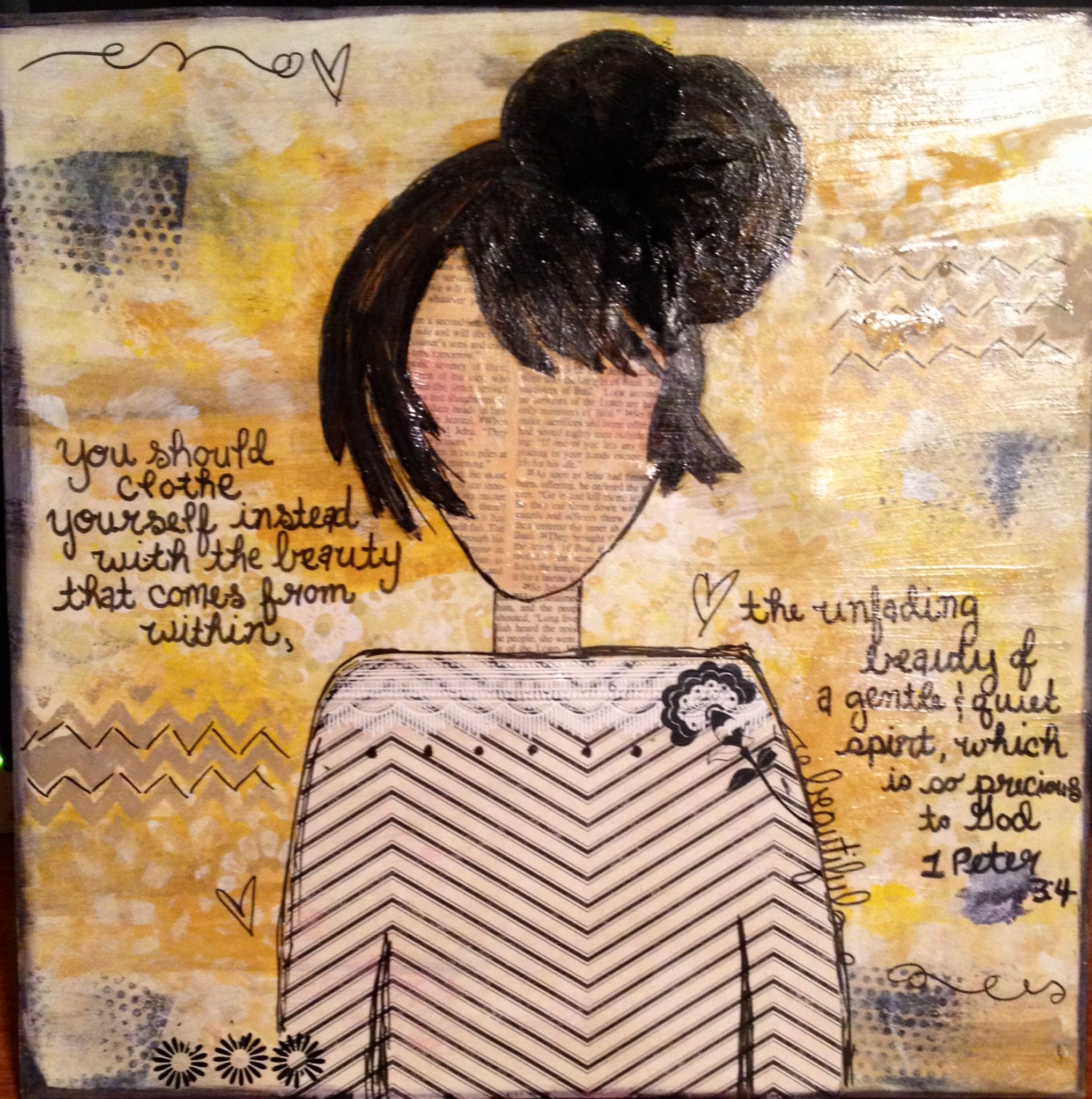 She Art 1 Peter 3:4 (mixed media)