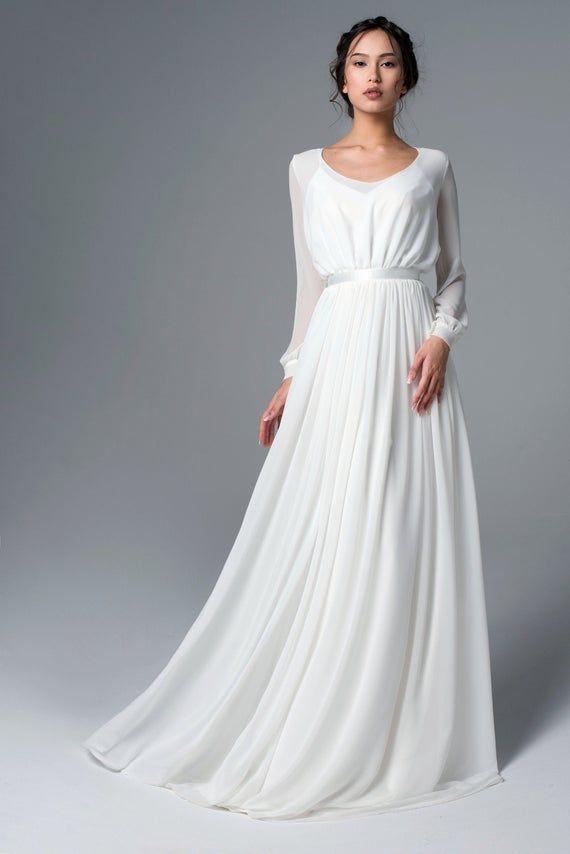 Chiffon Long Sleeve Wedding Dress Boho Wedding Dress Simple Wedding Dress Romantic Bridal Gow Wedding Dress Long Sleeve A Line Wedding Dress Simple Dresses