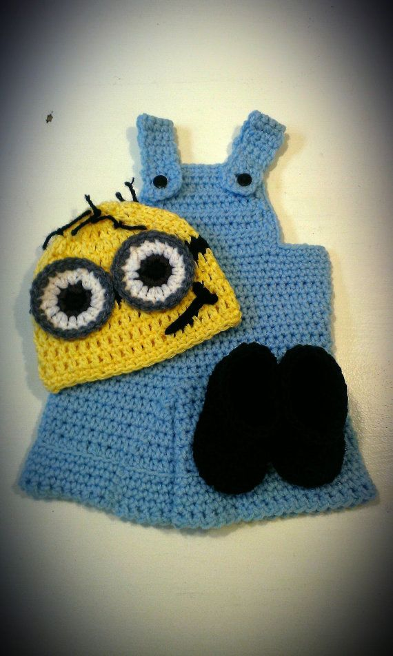 Newborn - Boys, Despicable Me Minion Crochet Hat, Overalls, and ...