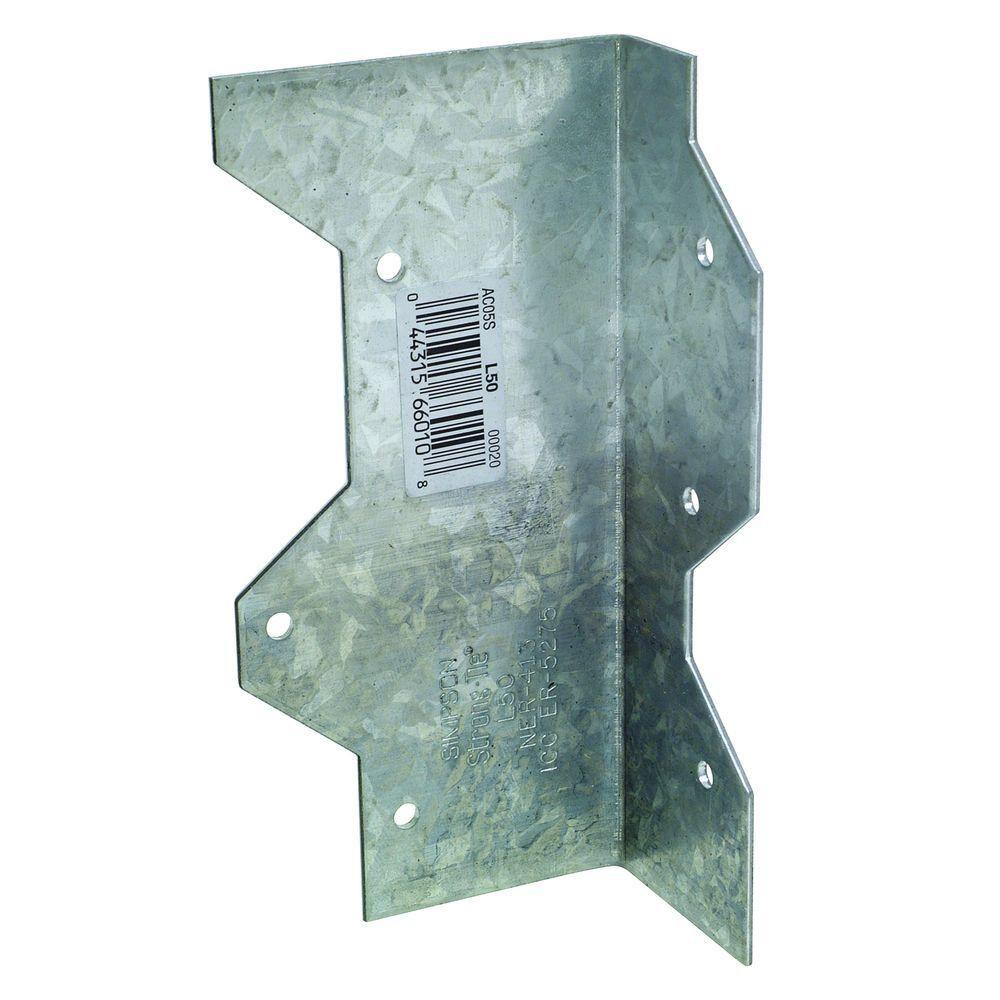 Simpson Strong Tie 5 In 16 Gauge Galvanized Reinforcing L Angle Silver In 2020 Galvanized Galvanized Steel Outdoor Accents
