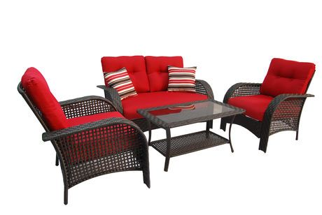 Hometrends Tuscany 4 Piece Cushioned Wicker Conversation Set Red