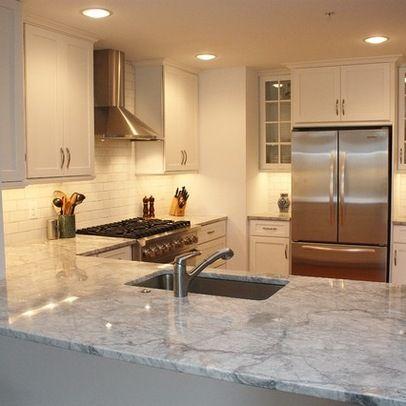 White Fantasy Granite And Subway Tile