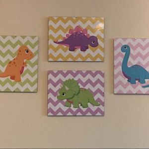 Dinosaur Nursery Decor Dinosaur Wall Art Blue Green Orange Dinosaur Nursery Wall Art Dinosaur Kids Wall Art Chevron Dinosaur-UNFRAMED C380 #dinosaurnursery