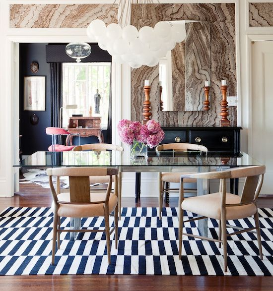 Black And White Striped Rug For The Dining Room Loving That Geode