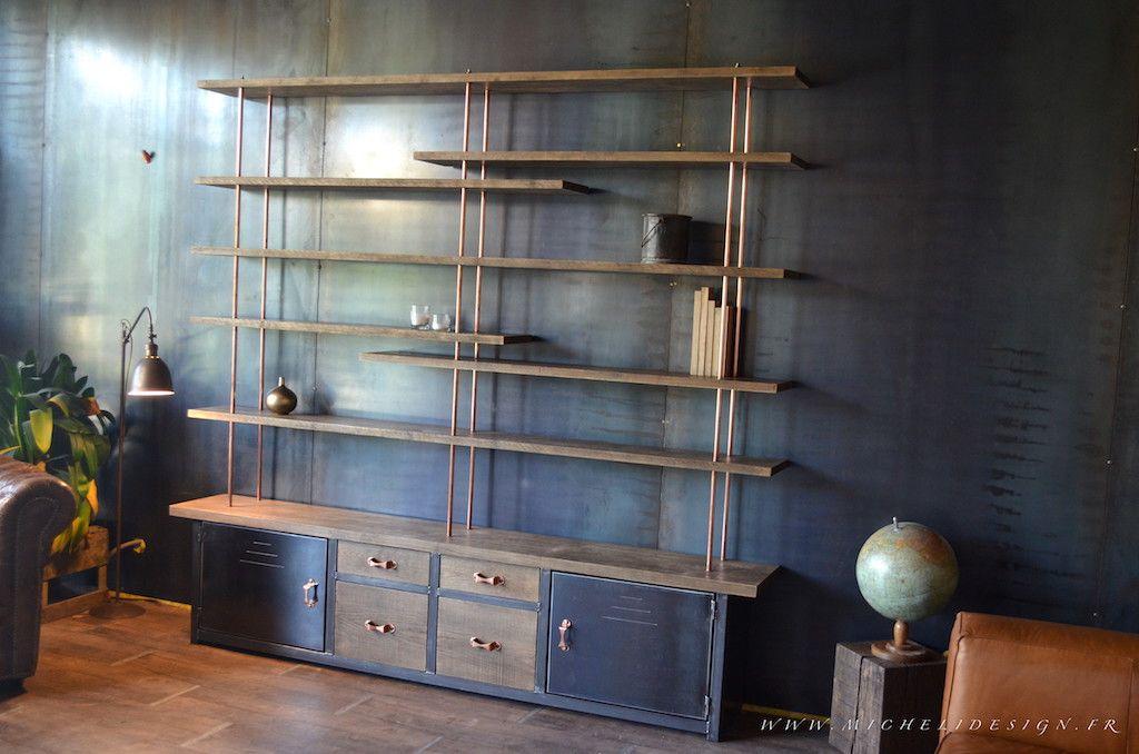 Meuble bibliothèque sur mesure - acier -Chêne - Cuivre  Création et