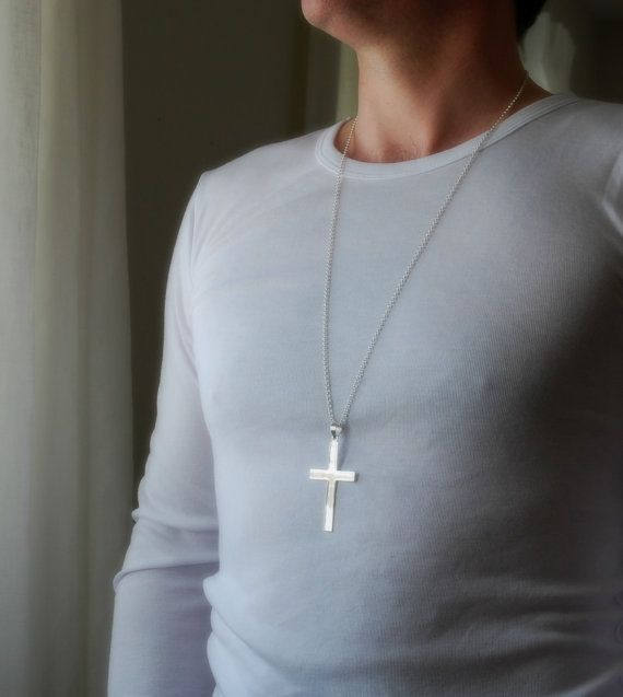 Extra Large Silver Cross Necklace Sterling Silver Cross Cross Pendant Big Cross Long Chain Masculine Mens Cross Classic Jewelry Cross Necklace Silver Sterling Silver Cross Necklace Cross Necklace
