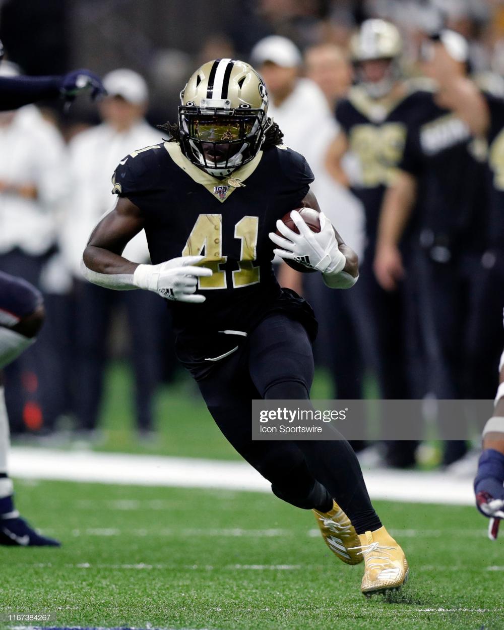 New Orleans Saints Running Back Alvin Kamara Runs Against Houston New Orleans Saints New Orleans Running Back