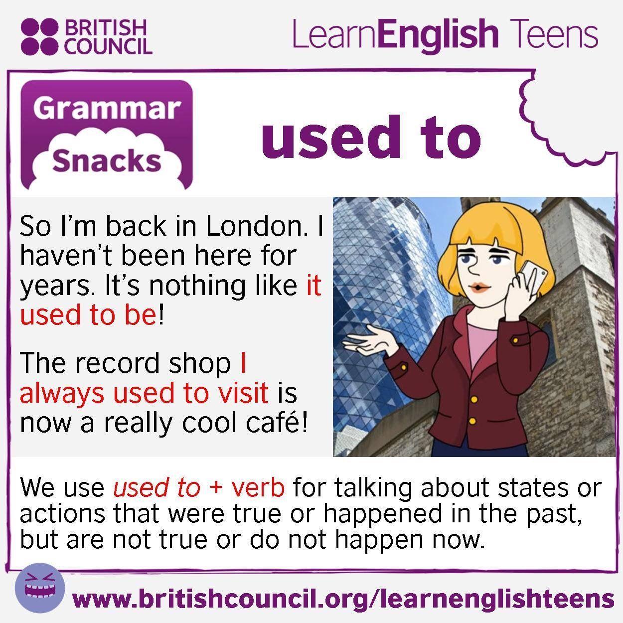 Grammar Snacks Used To Englishgrammar Learnenglish English4matura