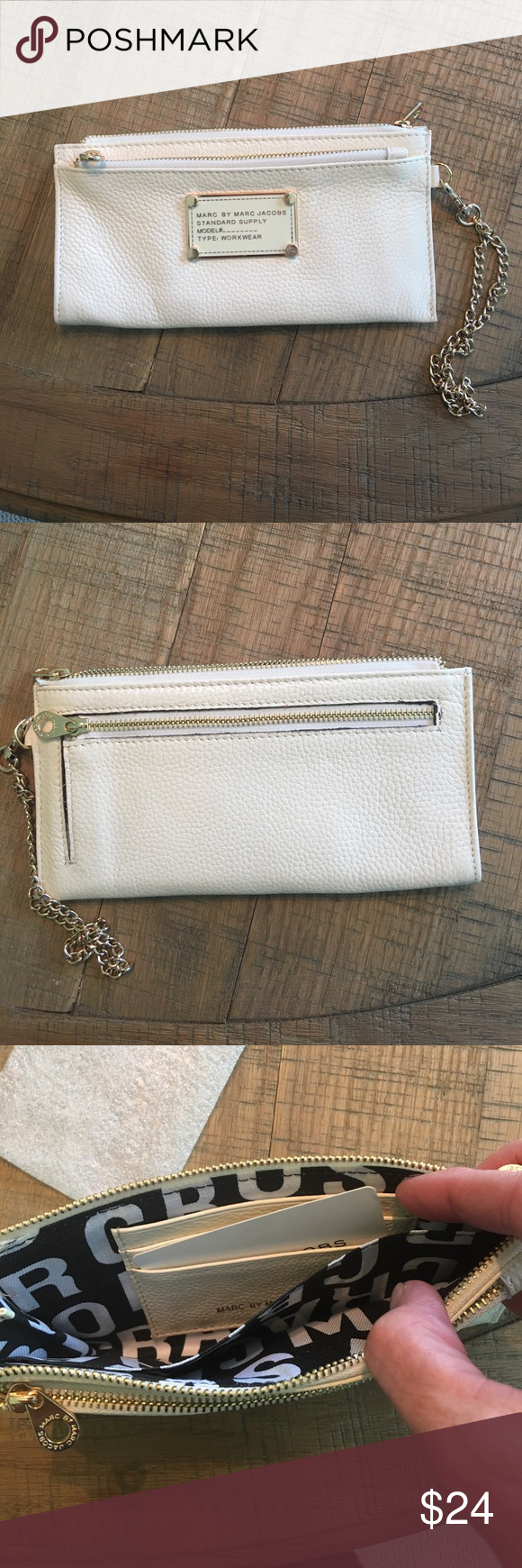 Wristlet in cream Wristlet in cream. Can be used as a wallet as chain detached. Measures 7.5 inches long by 4 inches high Bags Clutches & Wristlets