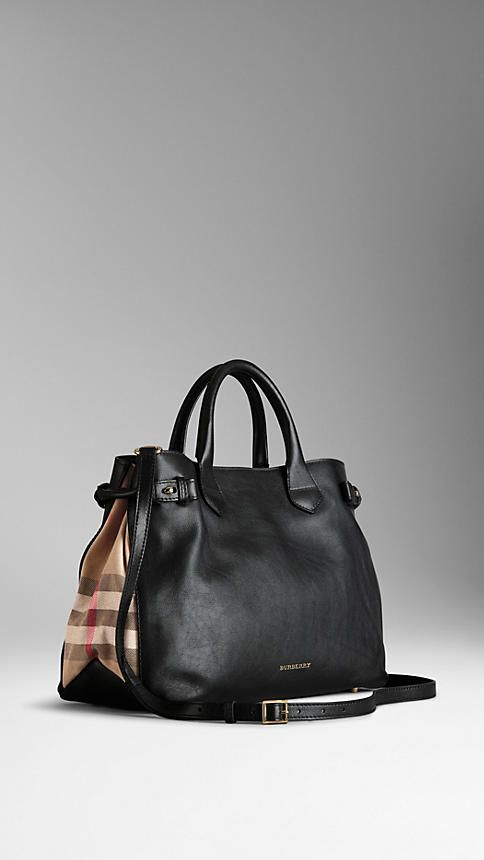 Medium House Check Detail Leather Tote Bag  d7a6683b279c1