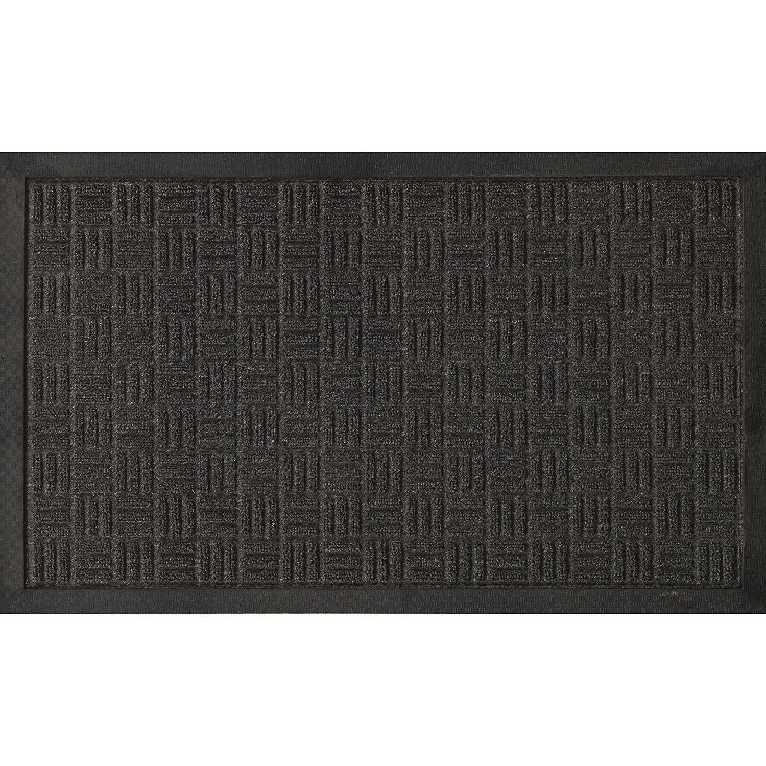 "Ottomanson Loop Carpet Natural Rubber Door Mat 18""X30"" Silver"