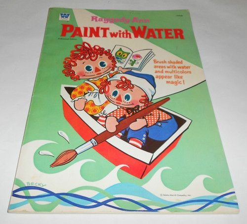 Oversized Whitman Raggedy Ann Paint with Water Book 1971