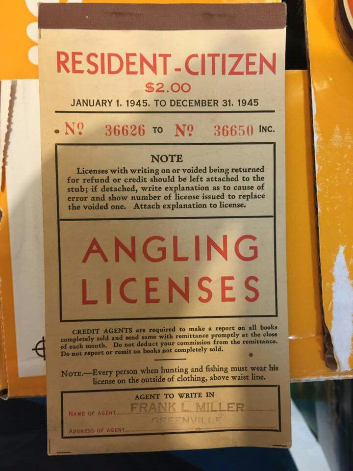 California fishing license 1945 cost $2 00 | History in Northern