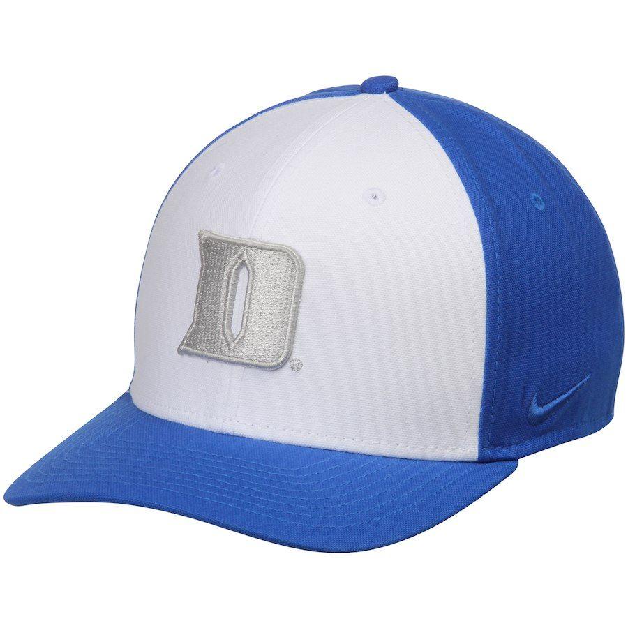 Duke Blue Devils Nike Colorblocked Swoosh Performance Flex Hat - White Royal c7a56e24f62a