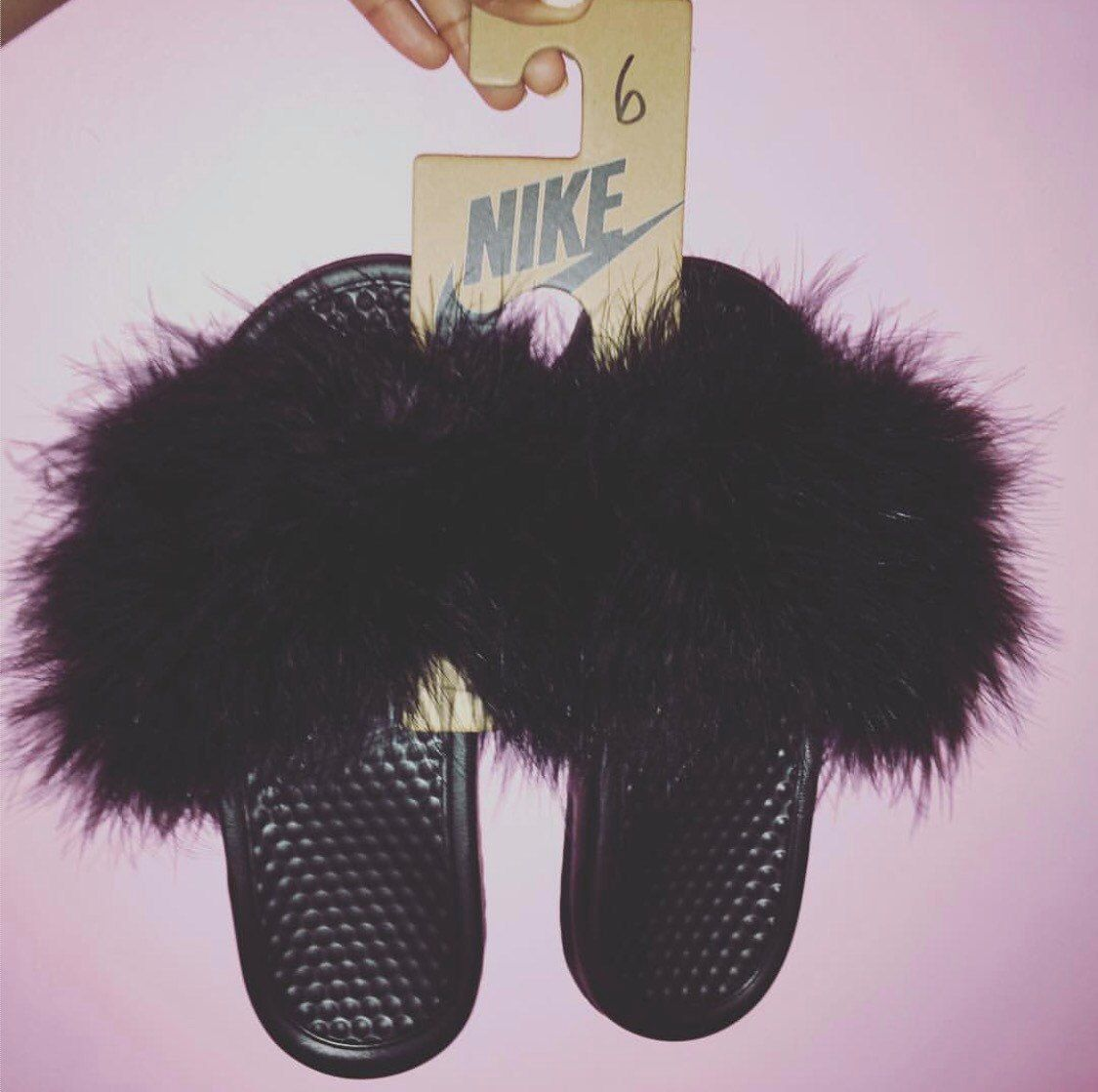 72479f1782fa1a Custom nike slides with faux fur. Nike slides typically come in black and  white