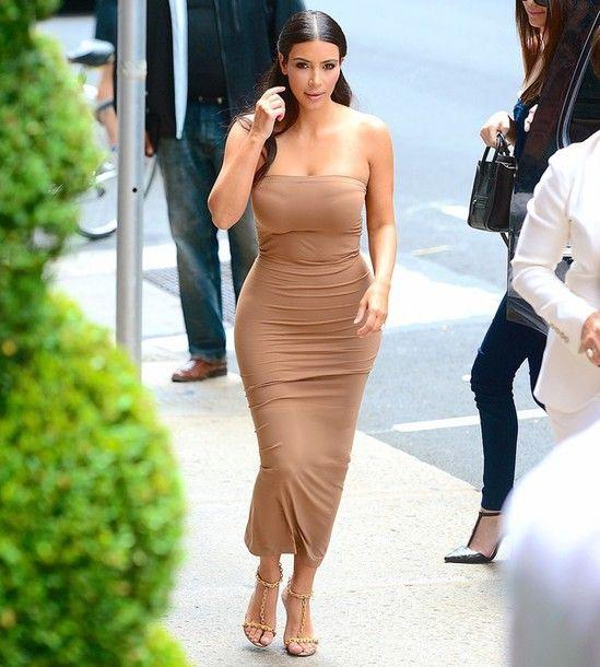 7918f5b96c39 dress nude kim kardashian kardashians midi dress bodycon dress strapless  dress strapless celebrity style celebstyle for less celebrity
