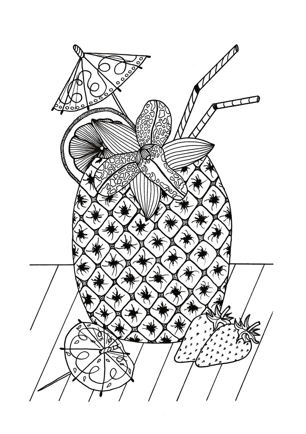 Tropical Island Cocktail Coloring Page Free Adult