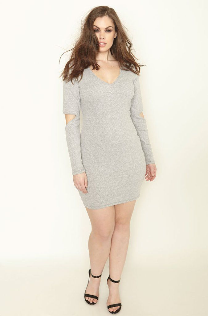 Disconneted Gray Cut Out Sleeve Ribbed Mini Dress Chloe 001a21bf71a