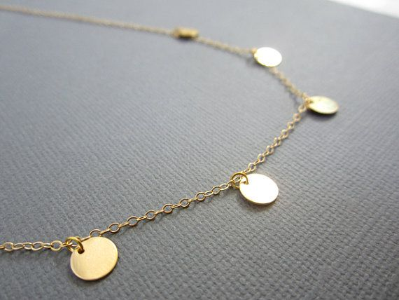 Gold disc necklace Small disc necklace 5 Gold filled disc Coin