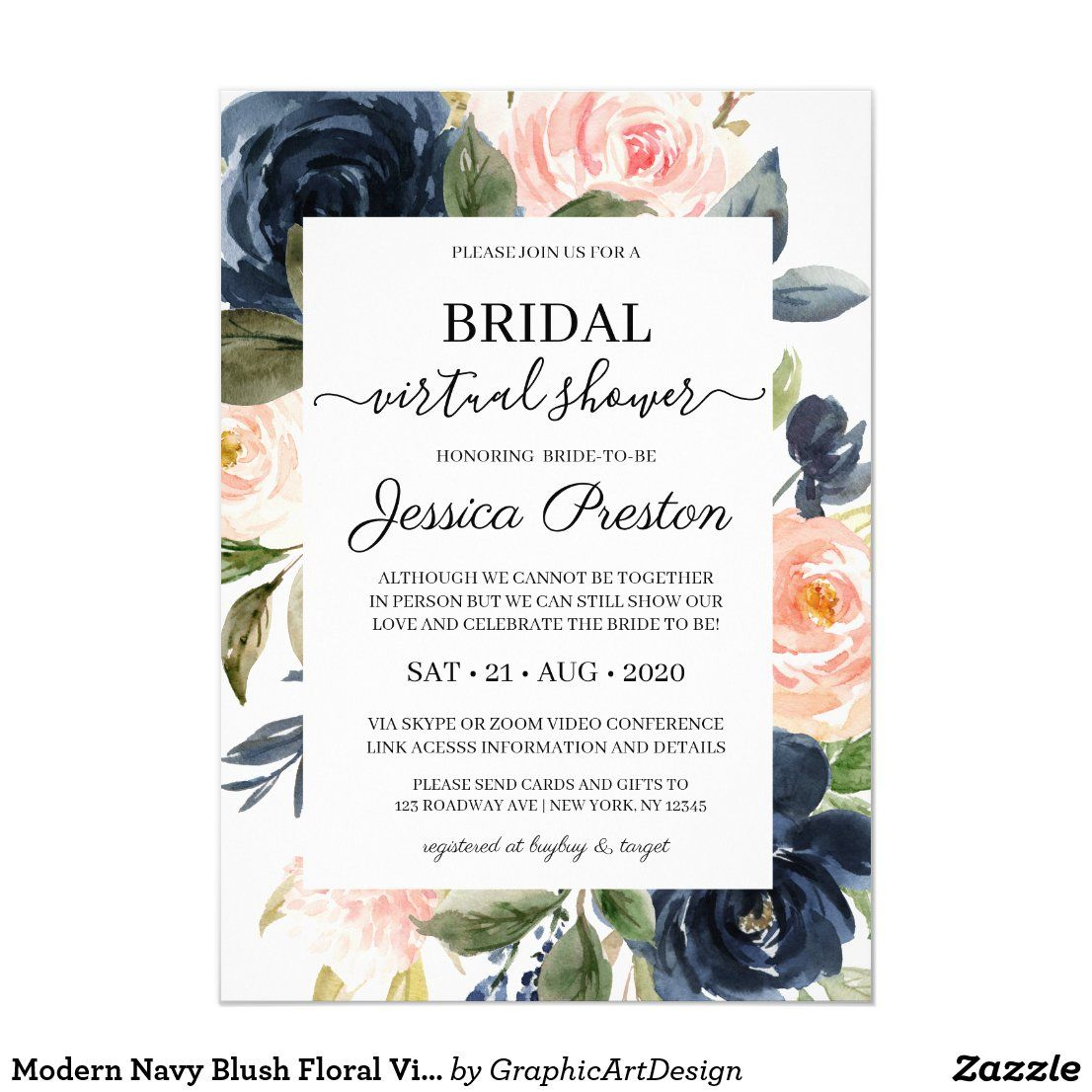Modern Navy Blush Floral Virtual Bridal Shower Invitation Zazzle Com In 2020 Bridal Shower Invitations Bridal Shower Wedding Announcements Invitations