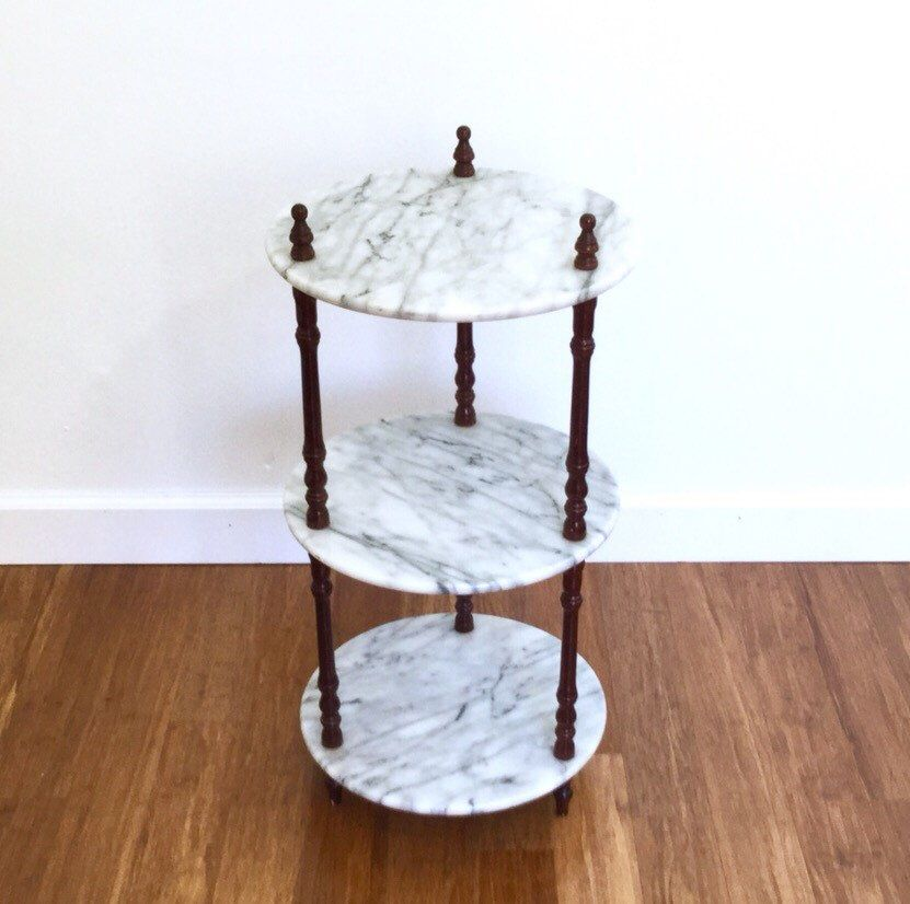 3 Tier Marble Table Mid Century Vintage Plant Stand Marble Table Table Redo Furniture