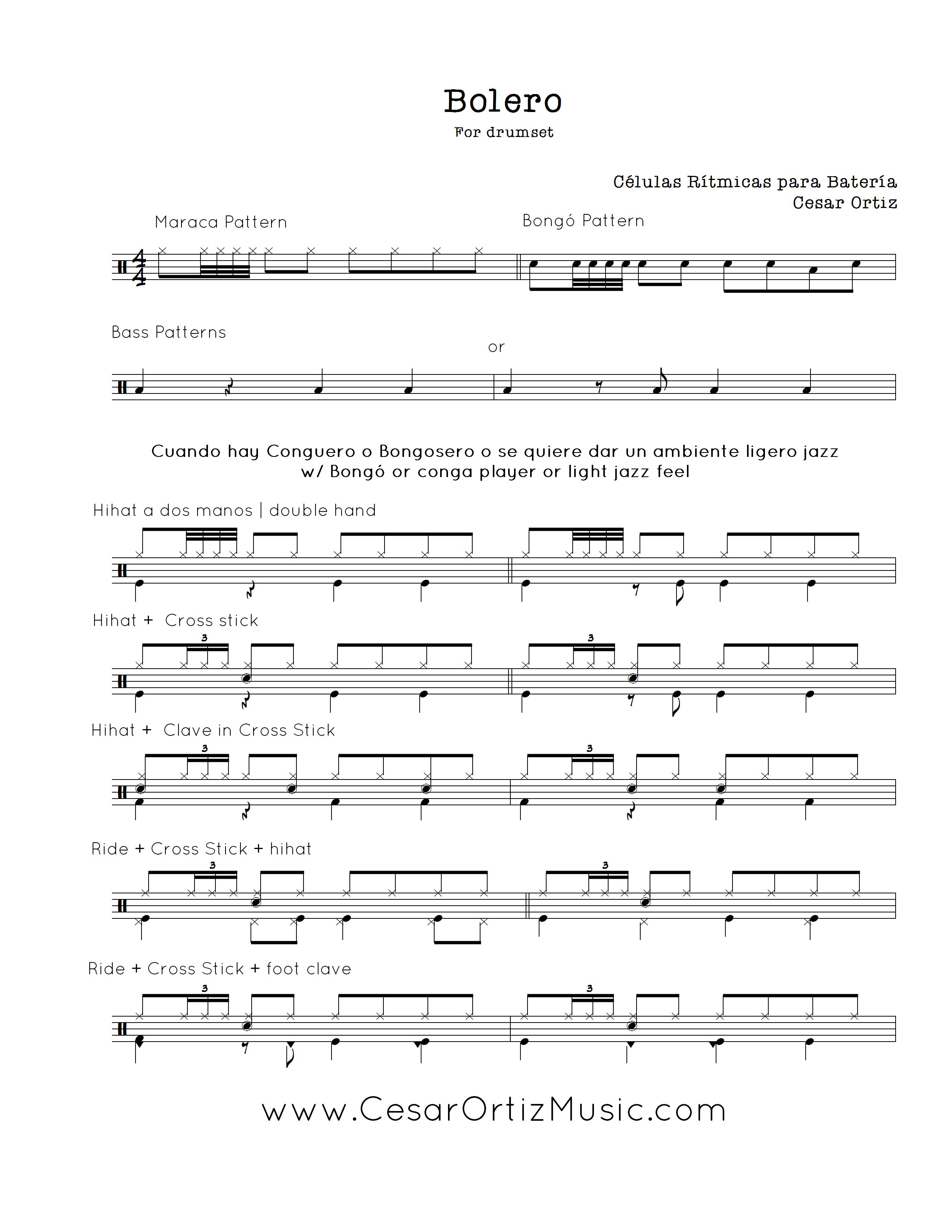 Bolero jazz para Batería | Cuban Grooves for drumset (page 1
