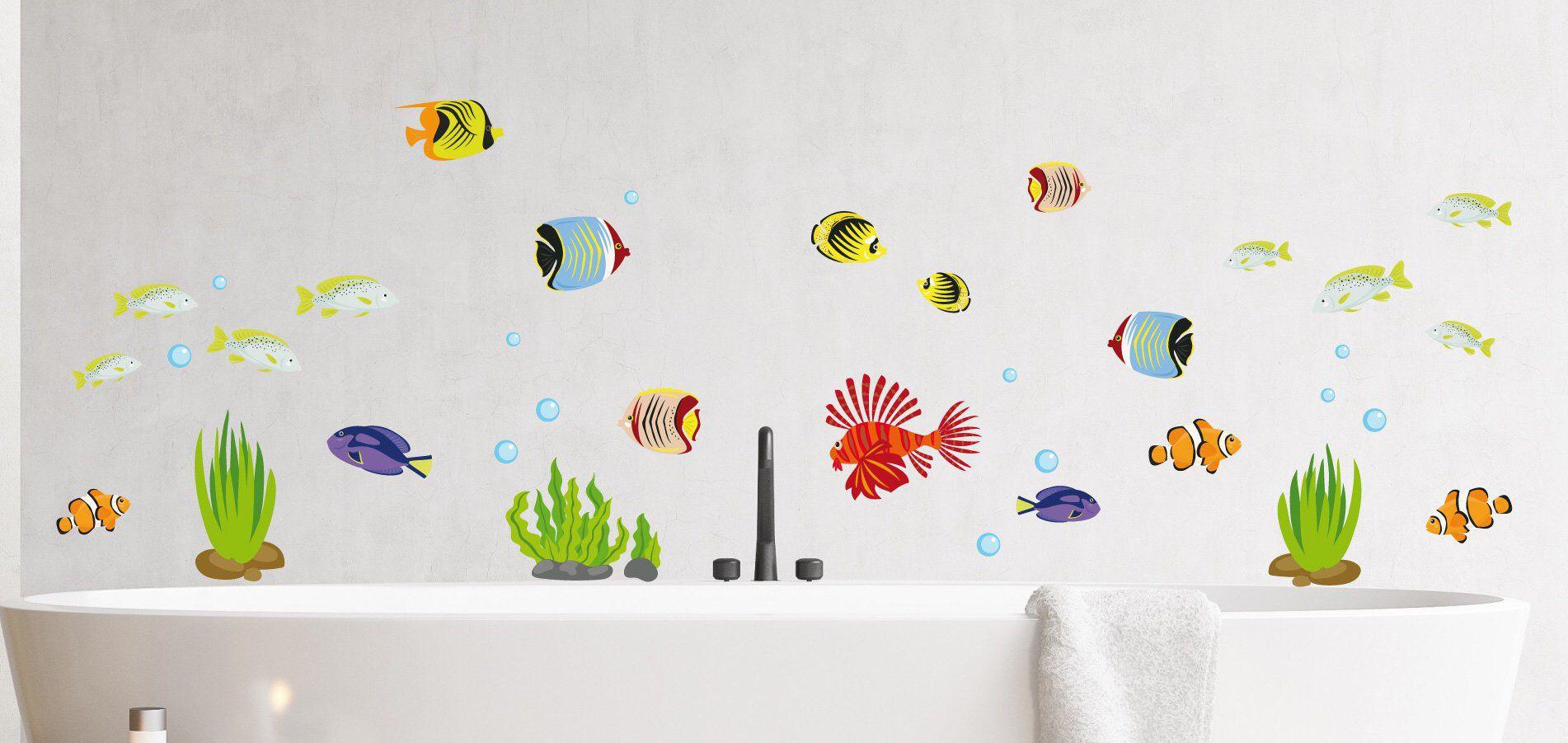 Fische Wandtattoo Wandsticker Aquarium Wandbild Badezimmer Meer