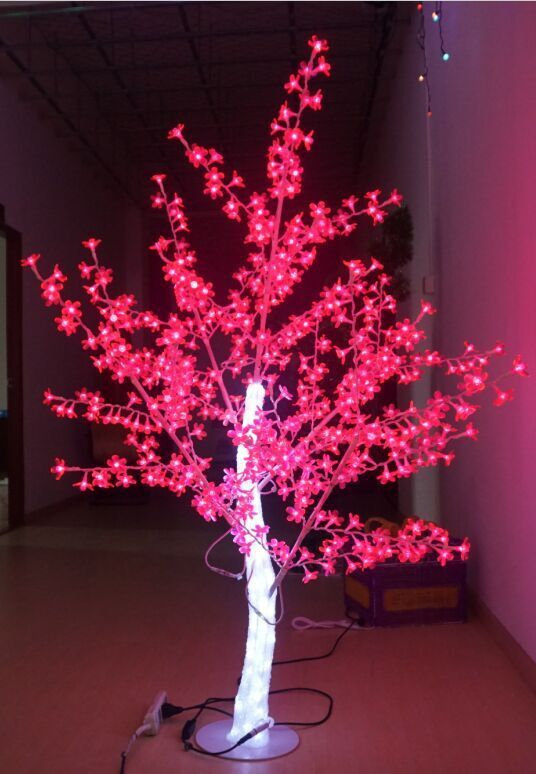 Free Ship 5ft Led Christmas New Year Light Crystal Cherry Blossom Tree With Red Leafs Outdoors Shop Holiday Lights Cherry Blossom Tree Christmas Decorations