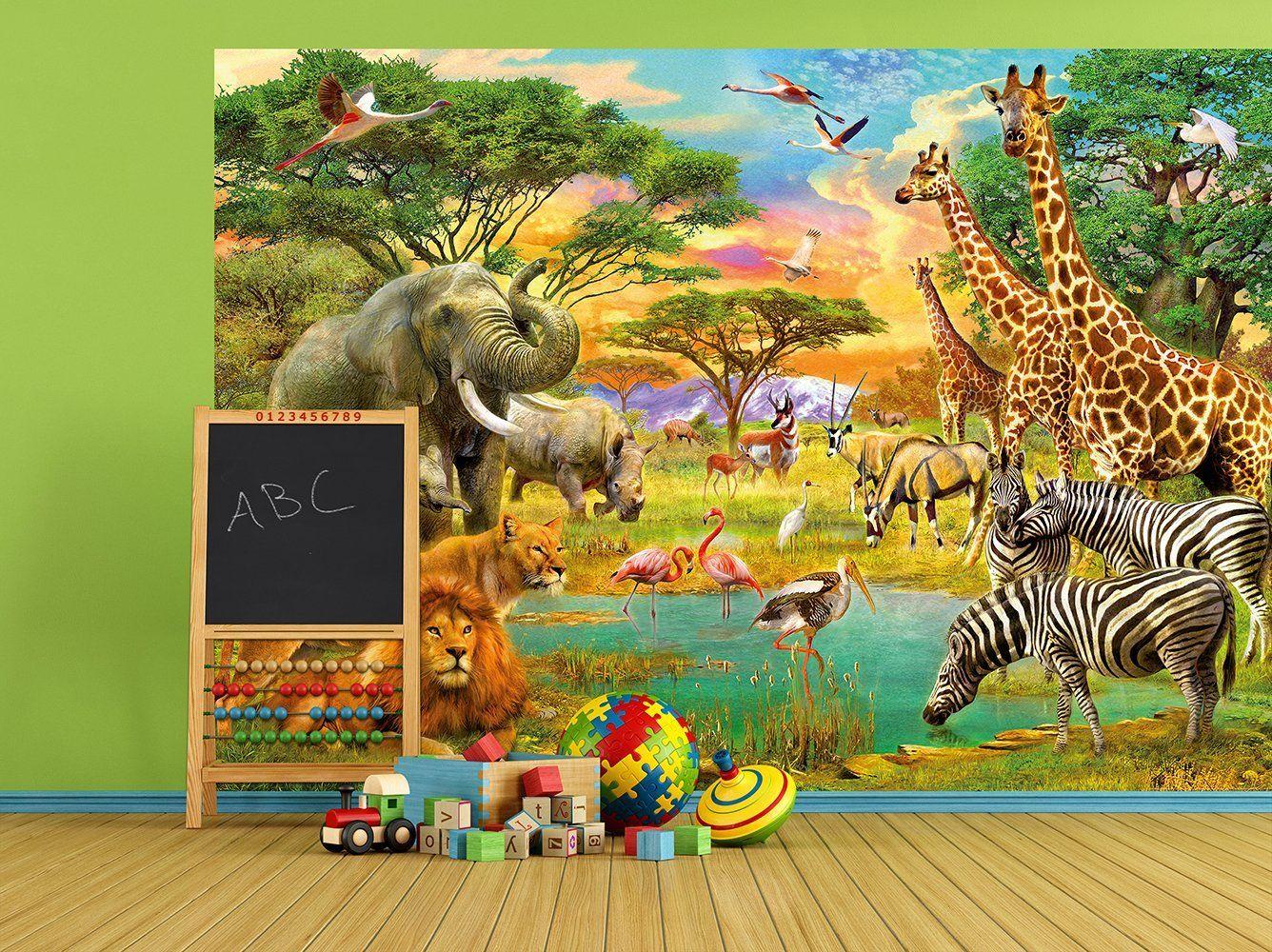 Amazon De Fototapete Wilde Tiere In Afrika 154i Grosse